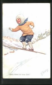 Künstler-AK Karl Feiertag: Frohe Fahrt ins neue Jahr!, Kind auf Skiern beim Sprung