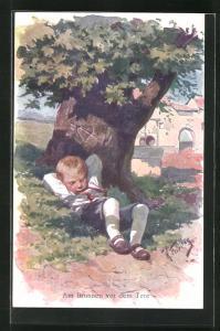 Künstler-AK Karl Feiertag: Am Brunnen vor dem Tore, Junge schläft unter dem Baum