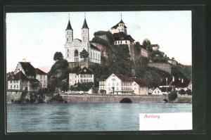 Relief-AK Aarburg, Teilansicht mit Kirche