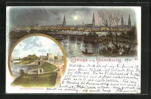 Lithographie Hamburg-Uhlenhorst, Teilansicht bei Mondschein, Feenteichbrücke