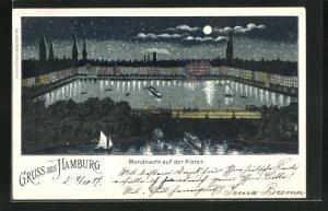 Lithographie Hamburg, Mondnacht auf der Alster