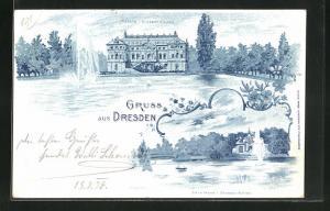 Lithographie Dresden, Palais i. Grossen Garten, Carolasee i. Grossen Garten