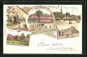 Lithographie Hamburg-Wandsbek, Hotel Wandsbeckerhof, Alte Kaserne, Neue Kaserne