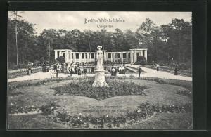 AK Berlin-Tiergarten, Der neue Rosengarten mit dem Standbild der Kaiserin