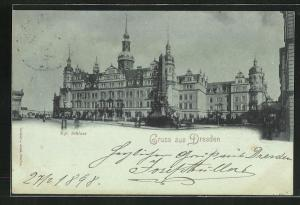 Mondschein-AK Dresden, Kgl. Schloss