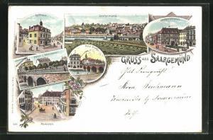 Lithographie Saargemünd, Rathaus, Marktplatz, Neue Brücke
