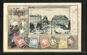 Präge-AK München, Karlsplatz mit Passepartoutrahmen Briefmarken