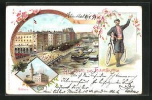 Lithographie Hamburg-Neustadt, Alter Jungfernstieg, Rathaus, Mann mit Fahrrad