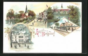 Lithographie Hamburg-Bergedorf, Schloss, Pensionat R. Sievers, Ortspartie