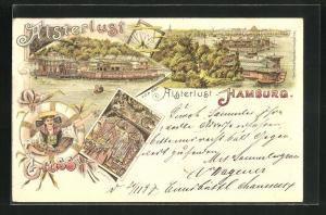 Lithographie Hamburg-St.Georg, Gasthaus Alsterlust, Inneres, Frau in Tracht