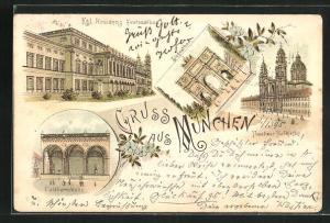 Vorläufer-Lithographie München, 1895, Theatiner Hofkirche, Feldherrnhalle, Siegesthor
