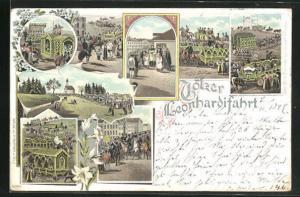 Lithographie Bad Tölz, Leonhardifahrt, St. Leonhard Ora pronobis, Ortspartie mit Kirche
