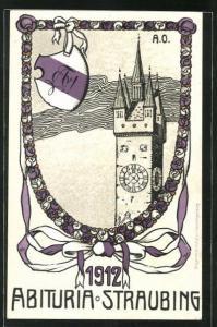 Künstler-AK Straubing, Abituria 1912, Absolvia, Turmuhr