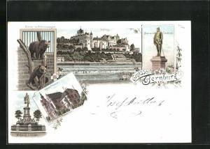 Lithographie Bernburg, Kreis-Haus, Wolfgang Denkmal, Bären im Schlosszwinger