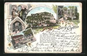 Lithographie Oybin, Restaurant Berg Oybin, Friedhof und Kirchruine