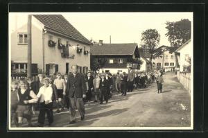 Foto-AK Hofkirchen, Festzug zur Glockenweihe