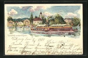 Lithographie Tutzing a. Starnbergersee, Dampfer vor der Ortschaft