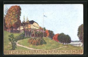AK Herrenchiemsee, Hotel und Restaurant Herrenchiemsee im Herbst