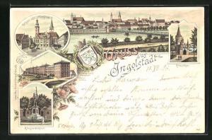 Lithographie Ingolstadt, Friedenskaserne, Rathaus mit Pfarrkirche, Kreuzthor