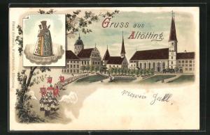 Lithographie Altötting, Prozession bei der Kirche, Gnaden-Mutter