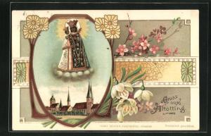 Lithographie Altötting, Blick auf die Kirche, Gnaden-Mutter