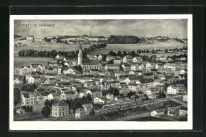 AK Ampfing b. Mühldorf, Ortsansicht mit Eisenbahn, Häuser und Kirchen