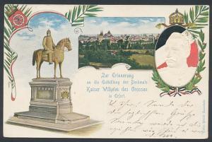 AK Erfurt, Enthüllung des Denkmals Kaiser Wilhelm des Grossen, Relief von Kaiser Wilhelm II.