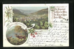 Lithographie Mürzzuschlag, Totalansicht mit Landschaft, röhrender Hirsch, Edelweiss, Wappen