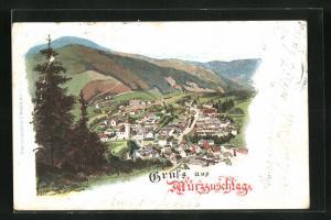 Lithographie Mürzzuschlag, Totalansicht von Anhöhe aus auf Kirche, Häuser und Landschaft