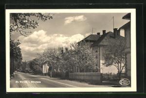 AK St. Marein i. Mürztale, Strassenpartie mit Gebäudeansicht