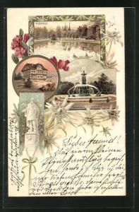 Lithographie Graz, Hilmteich, Stubenberghaus und Stadtpark-Brunnen