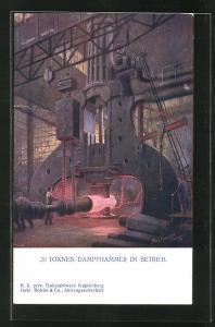 Künstler-AK Kapfenberg, Gussstahlwerk mit Arbeitern am 20 Tonnen-Dampfhammer