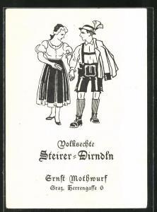 Künstler-AK Graz, Reklame Volksechte Steirer-Dirndln, Herrengasse 6, Trachten
