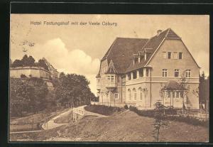 AK Coburg, Hotel Festungshof mit der Veste Coburg