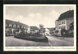 AK Neustadt-Waldnaab, Kinderheim Wöllershof, Innenhof mit Veranstaltungs- u. Wirtschaftsgebäuden