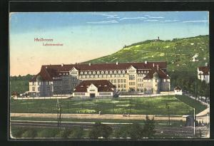 AK Heilbronn, Lehrerseminar mit Bahngleisen und Umgebung