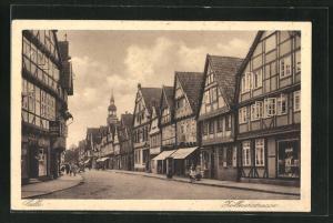 AK Celle, Zöllnerstrasse mit Reihe von Fachwerkhäusern