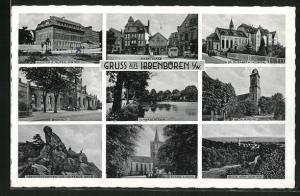 AK Ibbenbüren i. W., Marktplatz, evang. Kirche, Blick vom Gebirge, St. Elisabeth-Hospital, Kloster z. Guten Hirten