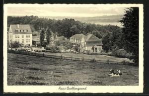 AK Dornap, Hotel Haus Quellengrund von Anhöhe aus gesehen mit Blick auf Wiese mit Kuh und Umgebung