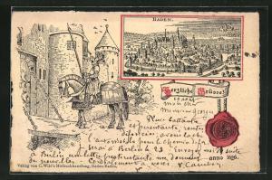 AK Baden-Baden, Ritter und Pferd in Rüstung vor Zugbrücke, Totalansicht, Siegel, anno 1626