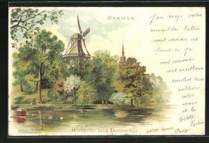 Lithographie Bremen, Wallpartie beim Heerdenthor, Windmühle