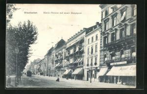 AK Wiesbaden, Rhein-Strasse mit neuer Hauptpost
