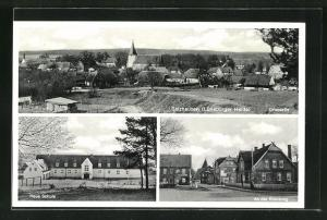 AK Salzhausen / Lüneburger Heide, Ortspartie, Neue Schule, An der Kreuzung
