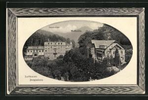 Präge-AK Bergzabern, Sanatorium, Waldmühle u. Luisenruhe mit Passepartoutrahmen