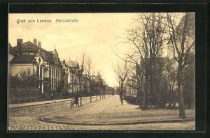 AK Landau, Mahlastrasse mit Radfahrer