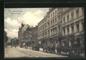 AK St. Johann / Saar, Pferdekutschen in der Reichsstrasse