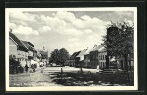 AK Plau i. M., Strasse am Marktplatz