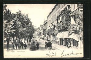 AK Bad Ems, Passanten und Geschäfte in der Römerstrasse