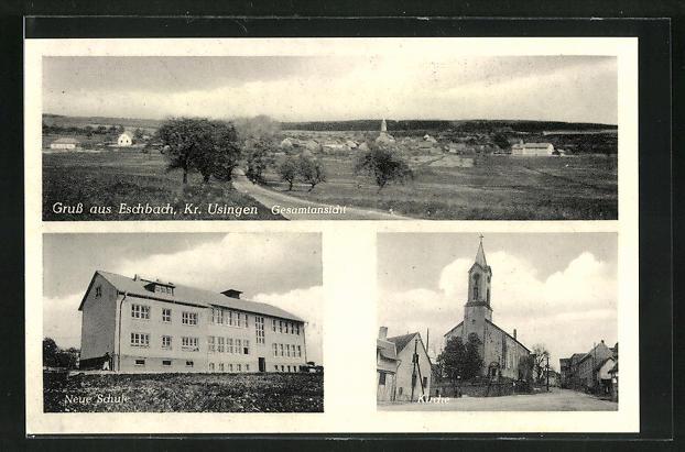 AK Eschbach, Neue Schule, Kirche, Gesamtansicht 0