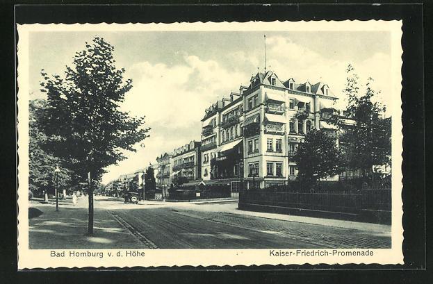 AK Bad Homburg v. d. Höhe, Strassenpartie Kaiser Friedrich-Promenade mit Hotel 0